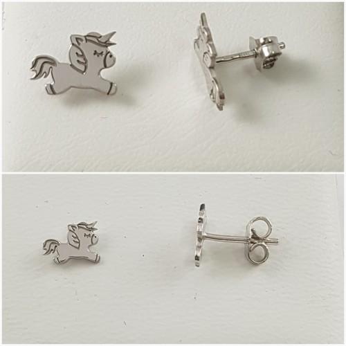 2263852a666e Pendientes de Unicornio de Plata en dos tamaños - Joyería Amores