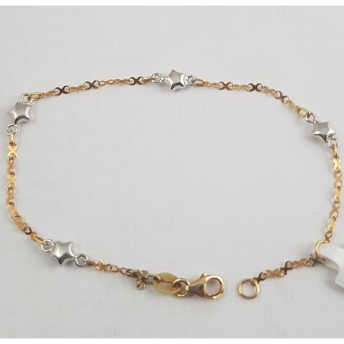 83ee285c86f2 Pulsera comunión estrellas oro blanco y cadena oro amarillo 18 ...