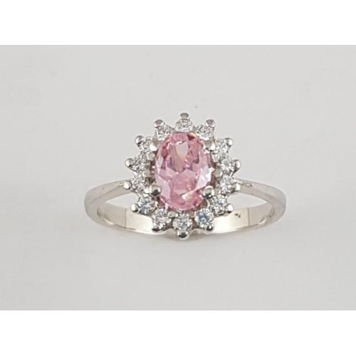 253e53831a31 Anillo plata rosetón con zirconitas rosa y blancas - Joyería Amores ...