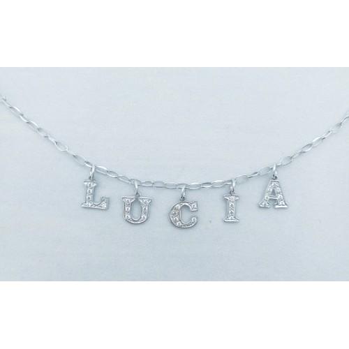 6320d2b2c048 Collar Nombre Iniciales Plata Zirconitas - Joyería Amores. Tienda ...