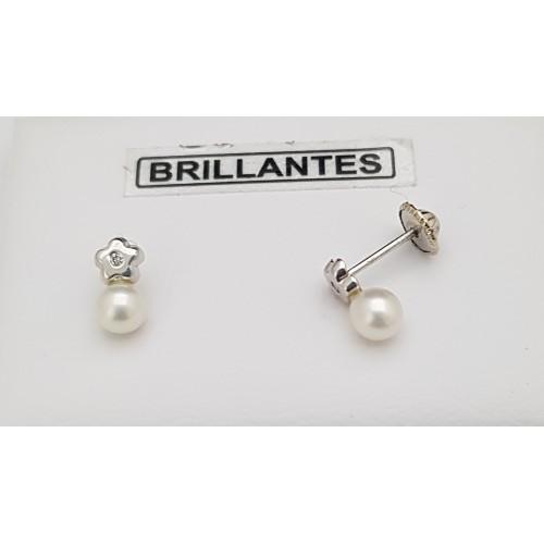 cc000c310868 Pendientes Bebé Perla y Brillante Oro Blanco 18 Kilates - Joyería ...
