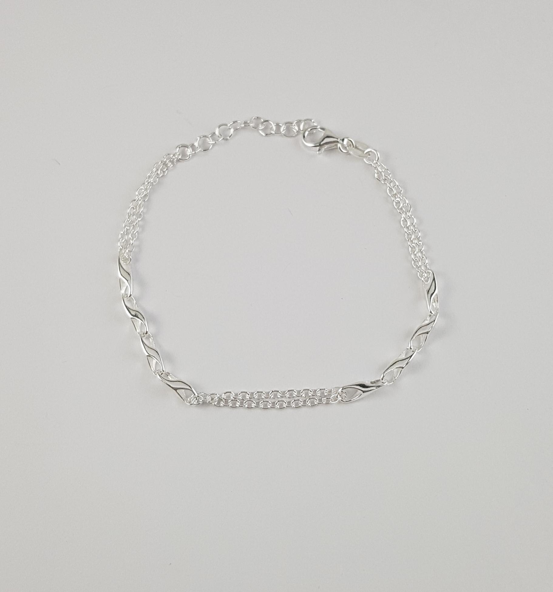 3dd4793fcf1b Pulsera plata cadena doble con eslabones - Joyería Amores. Tienda online  joyas personalizadas y artesanales
