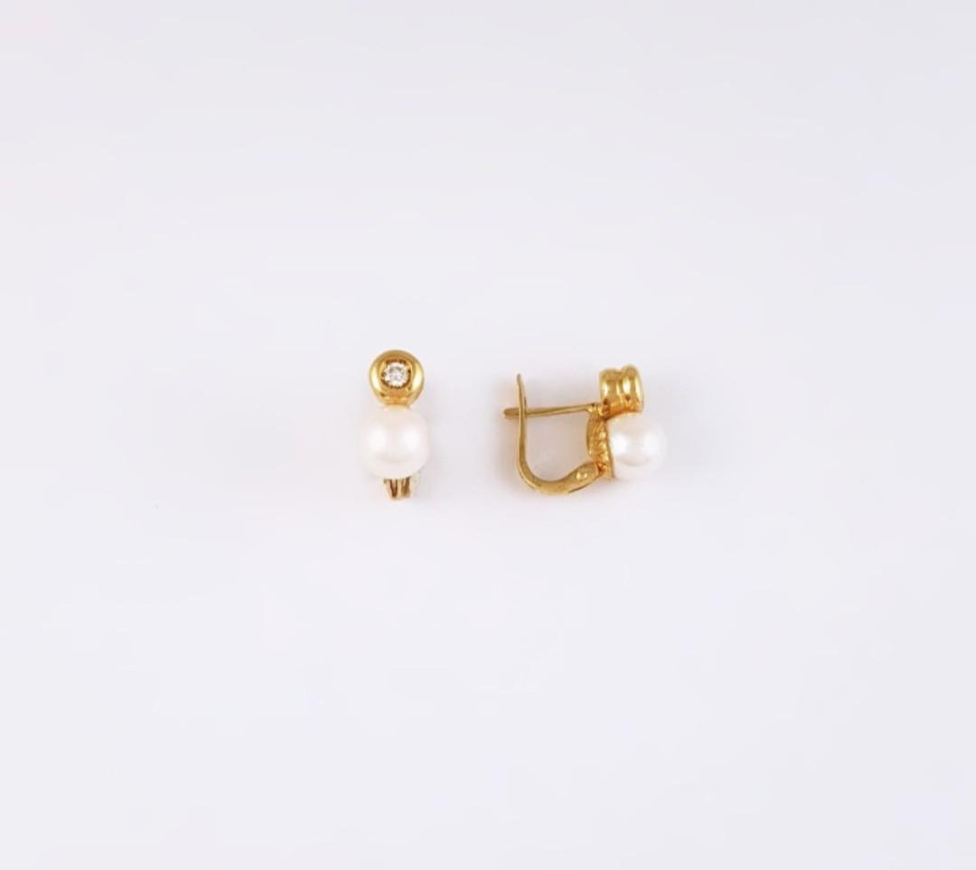 bee1649e70a3 Pendientes Perla Tu y Yo Oro Amarillo y Brillante - Joyería Amores. Tienda  online joyas personalizadas y artesanales