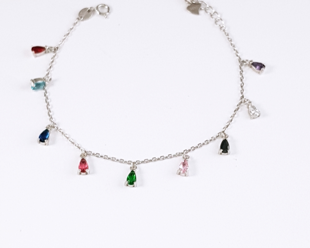 41f0bbc55405 Pulsera plata con piedras en colores - Joyería Amores. Tienda online joyas  personalizadas y artesanales