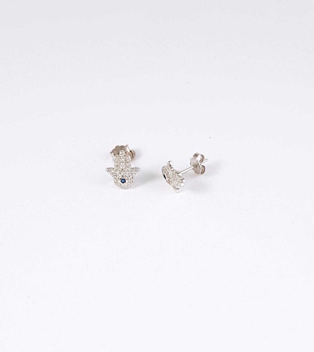 2a804d06c45d Pendientes plata mano fatima con zirconitas - Joyería Amores. Tienda online  joyas personalizadas y artesanales
