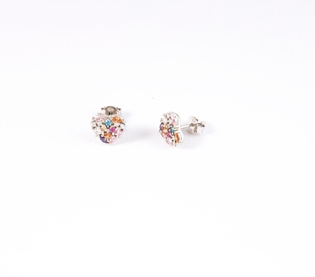 74cd8eb49fe3 Pendientes corazón plata con piedras de color