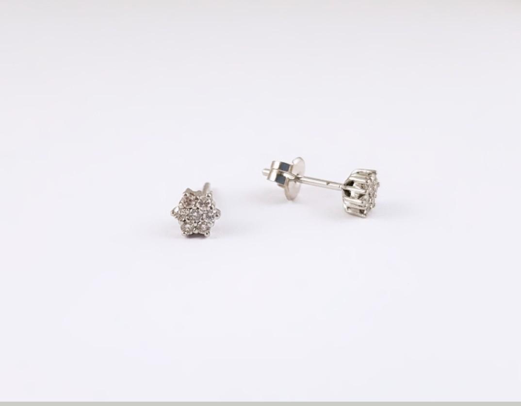 c8b7a3ec00f1 Pendientes Flor Oro Blanco 18K y Brillantes - Joyería Amores. Tienda online  joyas personalizadas y artesanales